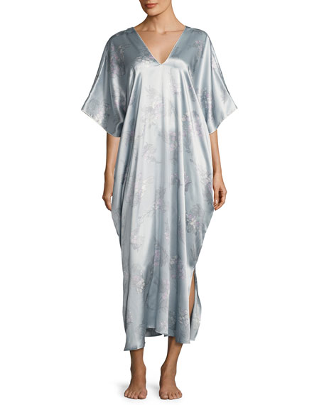 Natori Wisteria Waterfall Silk Caftan, Blue Pattern