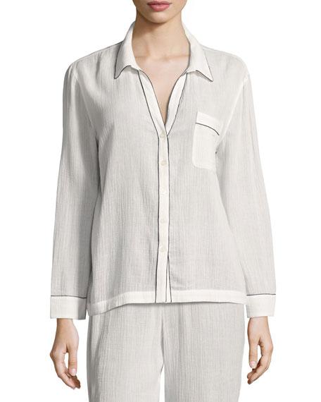Skin Long-Sleeve Piped Pajama Shirt, White