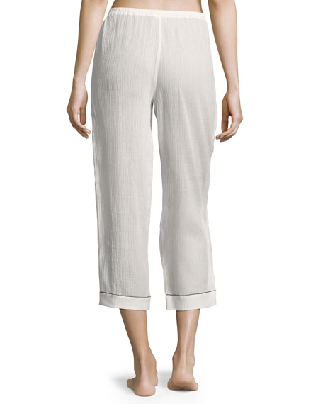 Piped Cropped Pajama Pants, White
