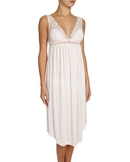 Eberjey Kiss the Bride Lace-Trimmed Nightgown, Light Pink