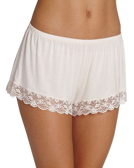 Kiss the Bride Lace-Trim Lounge Shorts, Light Pink