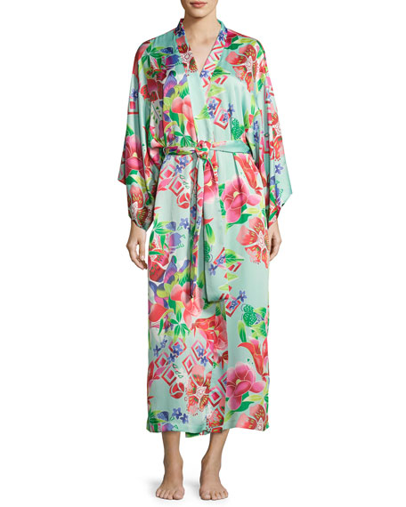 Natori Star Blossom Long Satin Robe, Blue Pattern