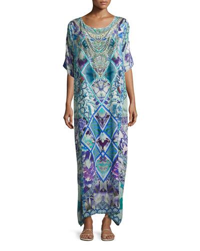 Round-Neck Maxi Caftan Silk Dress, Multi