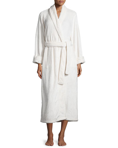 Long Robe with Solid Faux-Fur Trim