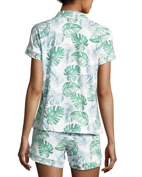 Palm Leaf-Print Short Pajama Set, Multi Pattern