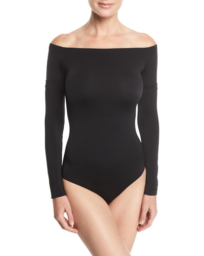 Sheen Off-the-Shoulder Bodysuit