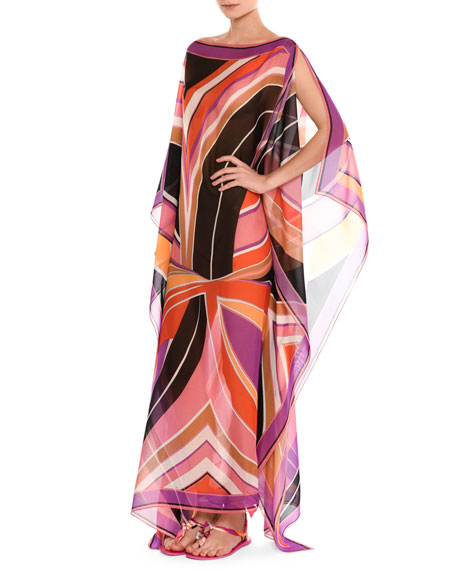 Stella Silk Boat-Neck Caftan Maxi Dress