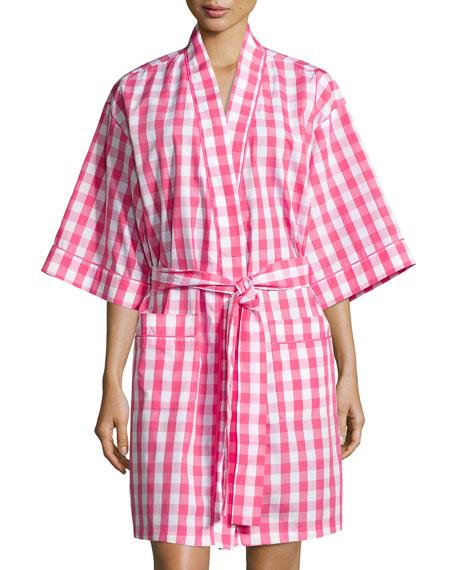Bedhead Gingham Short Kimono Robe, Hot Pink
