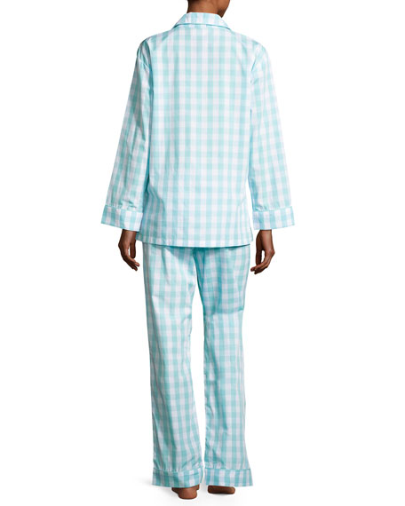 Gingham Pajama Set, Aqua