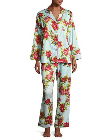Bedhead Hibiscus Classic Pajama Set, Light Blue, Plus