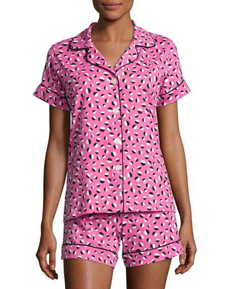 Bedhead Demi Ball Dot Shorty Pajama Set, Fuchsia/Black,