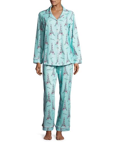 French Bow Classic Pajama Set, Light Blue, Plus Size