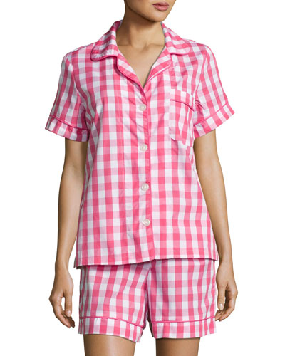 Gingham Shorty Pajama Set, Hot Pink, Plus Size