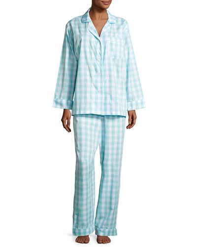 Gingham Pajama Set, Aqua, Plus Size