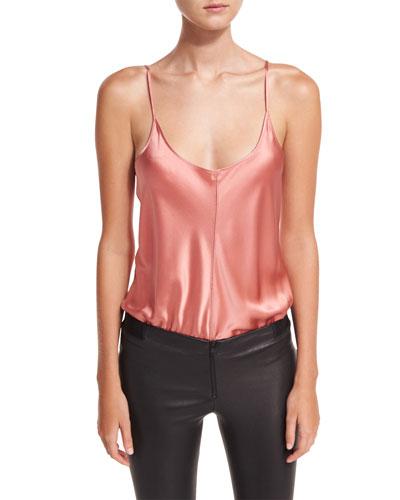 Silk Charmeuse Camisole Bodysuit W/ Threadwork