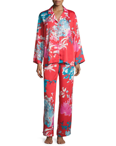 Natori Chianti Satin Pajama Set, Multi Pattern