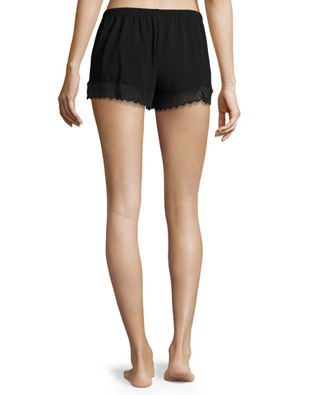 Minoa Lace-Trim Sleep Shorts, Black