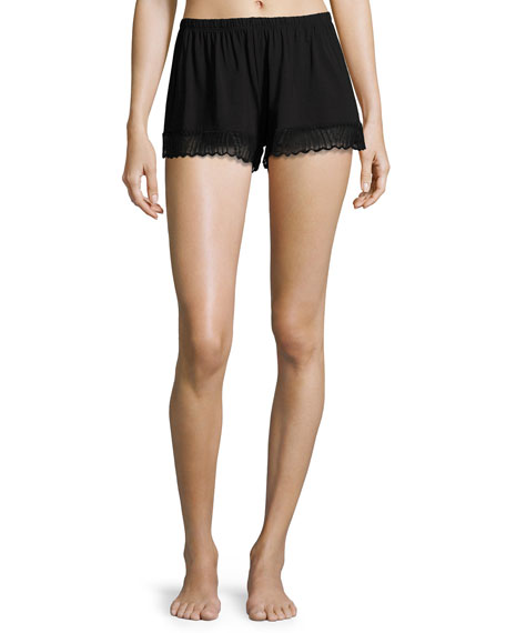 Cosabella Minoa Lace-Trim Sleep Shorts, Black