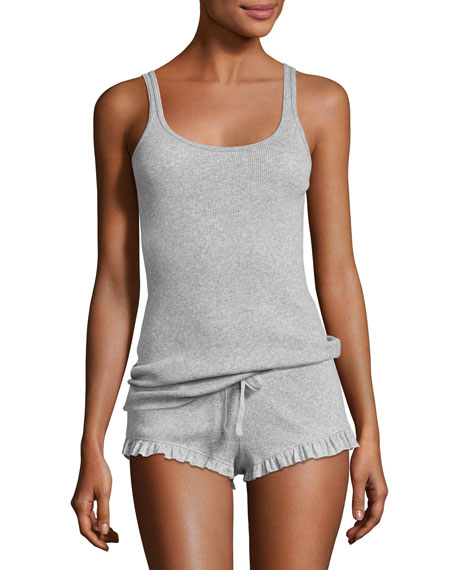 Essentials Ribbed Lounge Tank, Light Gray