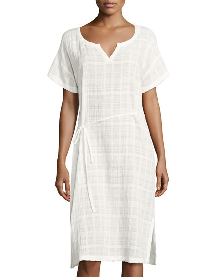 Crinkle Cotton Dobby Caftan, White