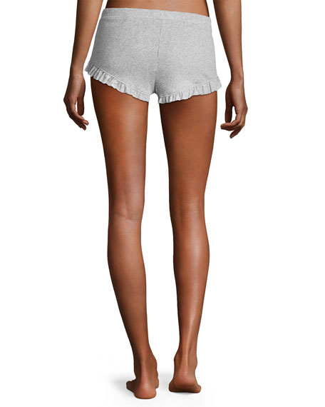 Essentials Ruffled Knit Shorts, Light Gray
