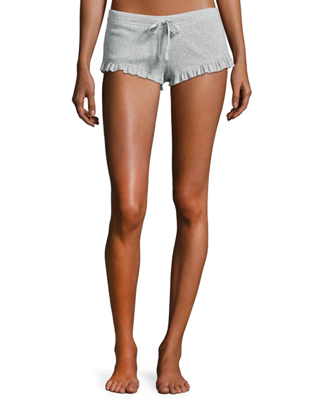 Essentials Ruffled Knit Shorts, Light Gray