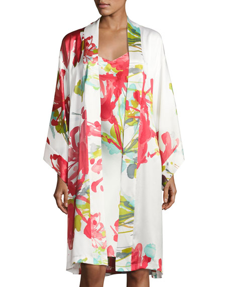 Tropics Floral-Print Robe, Multi Pattern