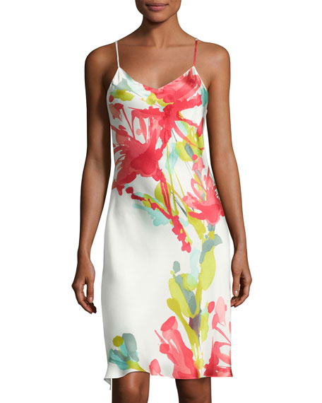 Josie Natori Tropics Watercolor Silk Chemise, Multicolor