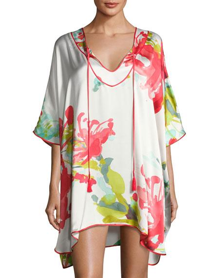 Josie Natori Tropics Floral-Print Silk Short Caftan, Multi