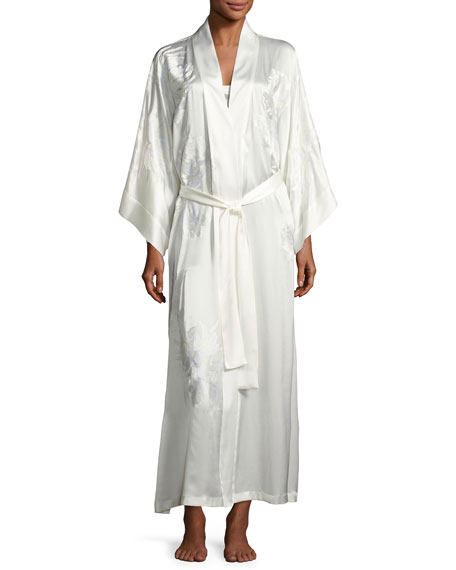 Josie Natori Delphine Embroidered Silk Long Robe, White
