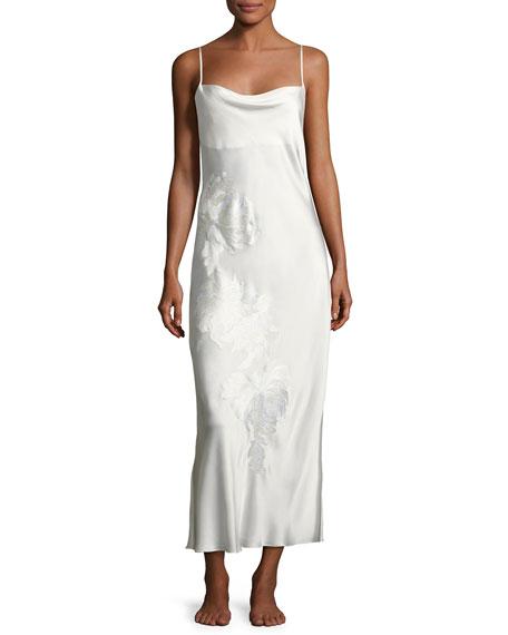 Josie Natori Delphine Floral-Embroidered Silk Night Gown, White