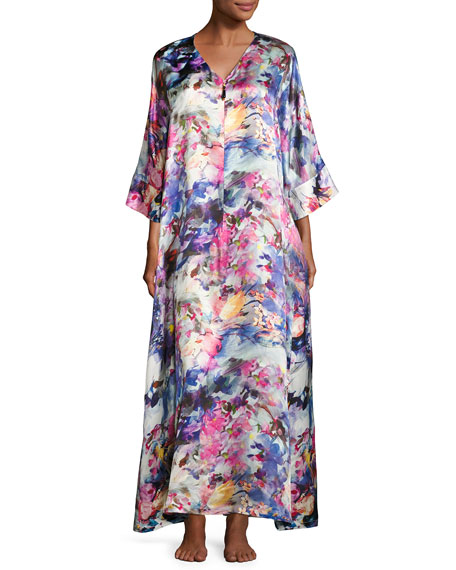 Christine Designs Blossoms Floral-Print Silk Caftan, Multi