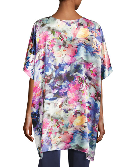 Blossom Silk Tunic Top, Multi Pattern