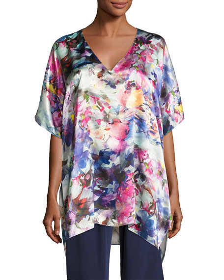 Christine Designs Blossom Silk Tunic Top, Multi Pattern