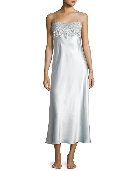 Christine Designs Bijoux Lace-Trim Long Gown, Light Gown