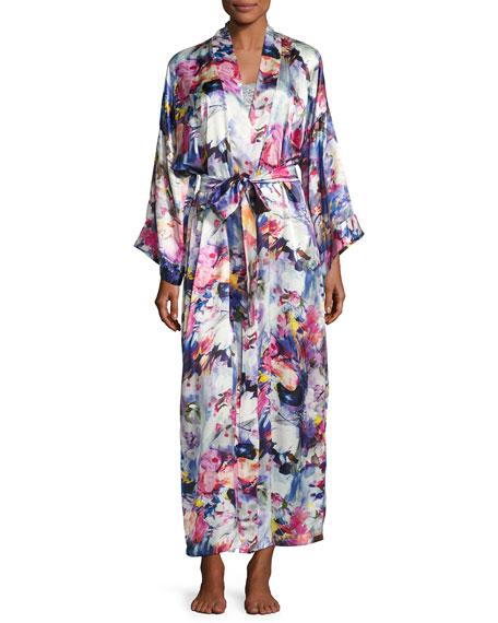 Christine Designs Blossom Printed Long Silk Wrap Robe,