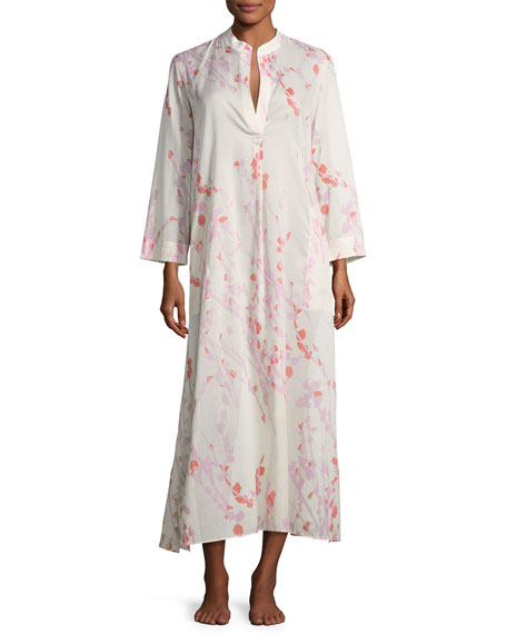 Natori Orchid Spray Lounge Caftan, Cream