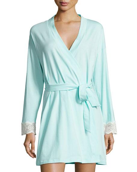 Cosabella Sonia Lace-Cuff Robe, Blue/White