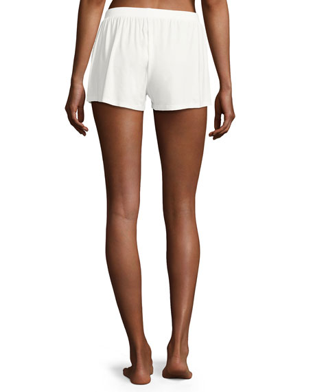 Bacall Two-Tone Lace-Inset Boxer Shorts, Ivory