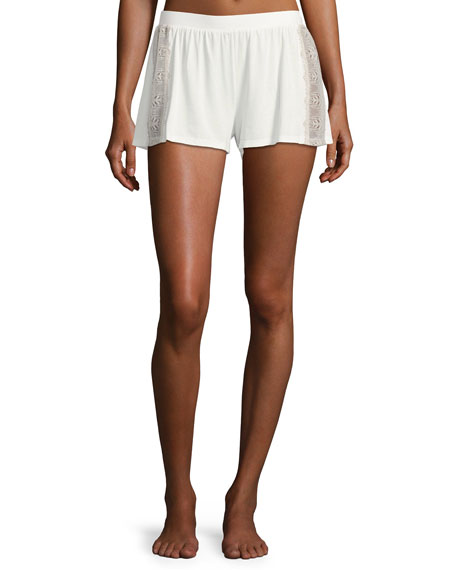 Cosabella Bacall Two-Tone Lace-Inset Boxer Shorts, Ivory