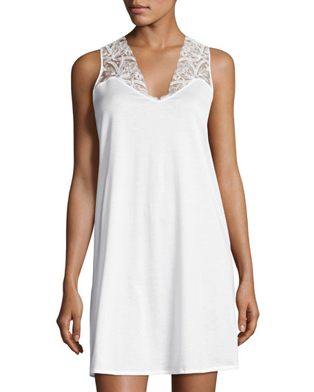 Hanro Daphne Lace-Trim Tank Gown, White