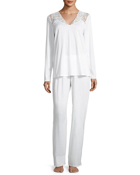 Hanro Daphne Lace-Trim Pajama Set, White