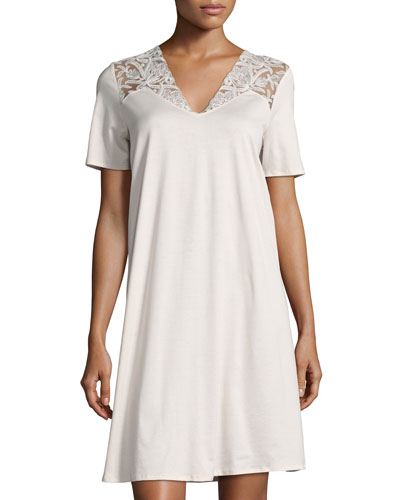 Daphne Lace-Trim Short-Sleeve Gown, Beige