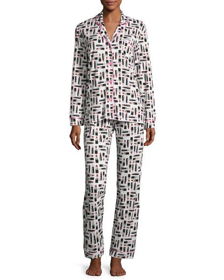 Cosabella Bella Lipstick-Print Jersey Pajama Set