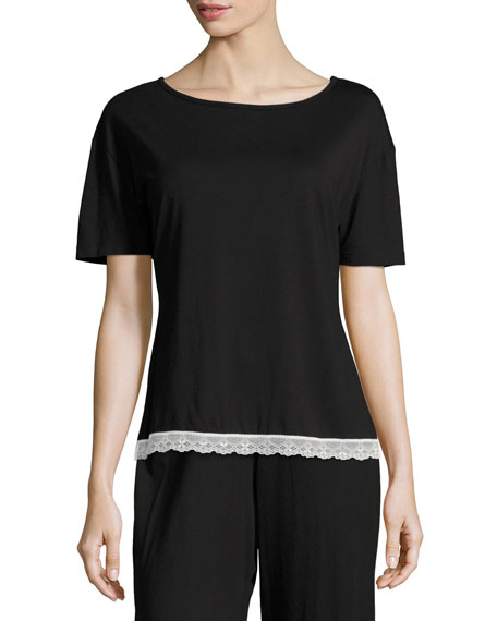 Cosabella Majestic Lace-Trim Lounge Top, Black/White