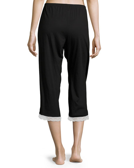 Majestic Crop Lounge Pants, Black/White