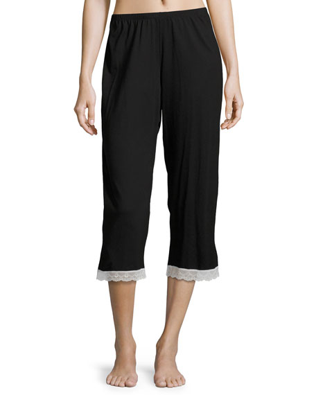Majestic Crop Lounge Pants, Black/White