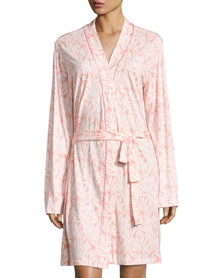 Bella Vintage Palm-Print Jersey Robe, Pink Pattern