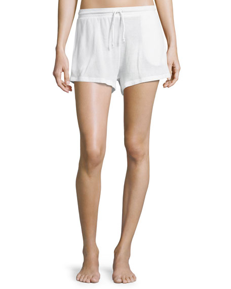 Waffle-Knit Cotton Lounge Shorts, White