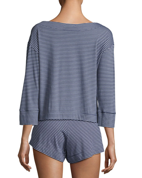 3/4-Sleeve Striped Jersey Lounge Top, Blue/White